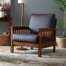Mission Style Furniture Chair Accent With Arms Wood Leather Flat Living Room