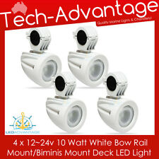 4 X 12V/24V 10W WHITE BOAT BOW RAIL BIMINI MOUNT LED FLOOD FISHING DECK LIGHTS