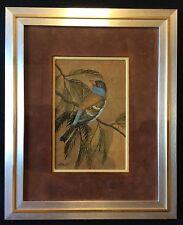Oiseaux superbe peinture sur feuille d'arbre signée Lert