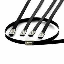 "10 12"" BLACK LOCKING STAINLESS STEEL ZIP TIES FOR CABLE EXHAUST HEADER PIPE WRAP"