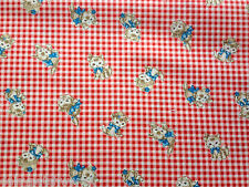 Kitty Gingham Cotton Fabric Metre Quilt Gate Red Check Cats Kittens Cute 1m