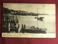 Perth Amboy New Jersey Along the Water Front Vintage 1910's Postcard Fish Boat