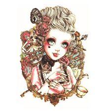 Grand 3D étanche Victorien Steampunk Carnaval Belle Tatouage Temporaire