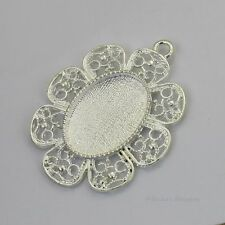 25x18 Oval Flower Silver Plated Cabochon (Cab) Drop Setting (#RB-C3608)