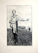 Hans Thoma Sämann IV 1915 Beringer 183 Radierung Etching Singiert Selten