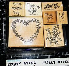 STAMPIN UP WREATH OF ROSES 7 RUBBER STAMPS MOTHER THINKING