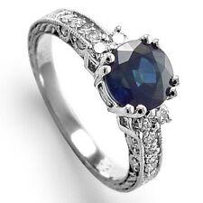 Ceylon Sapphire 1.75 CT and .40 CT Diamond Anniversary Ring 14K Gold R1258