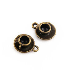 8Pcs Znic Alloy Bronze Plated Coffee Cup Pendants For DIY Making 15x15mm