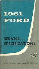 1961 Ford Service Specifications Manual Truck Pickup Econoline F100 F250 F350