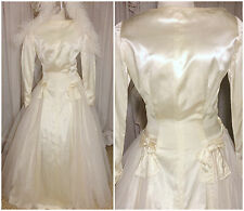 40s Elegant Ivory Liquid Satin Drop Waist Tulle Long Sleeve Wedding Dress Gown