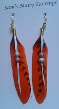 Native American Feather Earrings 925 Silver Gold/Silver Plated Hand Made