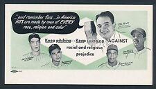 1947 JACKIE ROBINSON (DiMaggio ++) Anti-Racism Baseball Advertising Trade Card