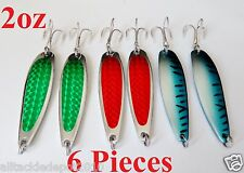 6 Pieces 2oz Casting Crocodile Spoons Trolling Fishing Lures -3 COLORS