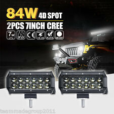 """PAIR 7INCH 84W CREE LED LIGHT BAR WORK SPOT DRIVING FOR JEEP SUV PK 36W FLOOD 6"""""""