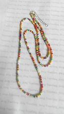 """Rainbow Seed Bead Long 25"""" Necklace Bracelet Chain Hippy Love Beach Festive"""