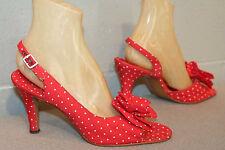 9.5 Red White Polka Dot Vtg 70s Spike Heel Open Bow Toe Slingback Disco Shoe