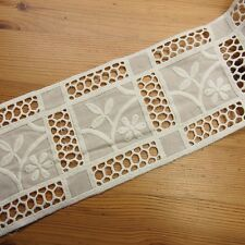 "Vintage Style Double Edged Cotton Eyelet Lace Trim 3.9""(10cm) Wide 1Yd Ivory"