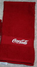"""Coca Cola"" 1 Red Hand towel w/white thread machine embroidered"