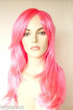 Hot Pink Blonde Long Straight Fun Color Costume Wigs