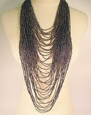 "45"" VERY LONG Multi Strand Handmade Hematite Bohemian Style Seed Bead Necklace"