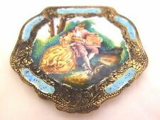 ANTIQUE VTG. STERLING & ENAMEL COMPACT, 800, 18TH CENTURY.