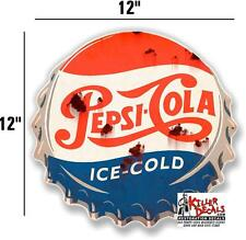 """12"""" RUSTY LOOKING PEPSI CAP DECAL FOR SODA MACHINE WALL SIGN coca cola"""