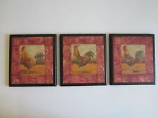 Roosters wall decor plaques hand crafted signs Country Kitchen Pictures red