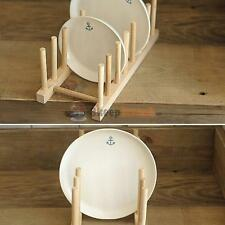 11'' Wooden Plate Rack Wood Stand Display Holder Lids Holds 7 Dish Dry Storage