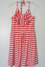 Coii USA Orange/White Stripe Elastic Waist Halter Ruffle Mini Dress SIZE:L