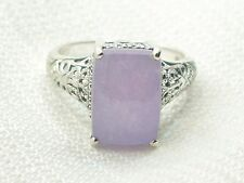 Estate Vintage Sterling Silver CNA Signed Purple Chalcedony Filigree Ring