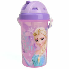 Disney FROZEN Kids Girls Cute Sports Water Bottle Slide Top Straw Shoulder Strap