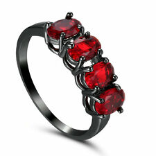 Size 6.5 Round Cut Red Zircon Engagement Ring Women's 14Kt Black Gold Filled