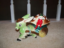 Vtg Planter Donkey pulling Mushroom Carriage & Pixie Elf Ceramic Japan