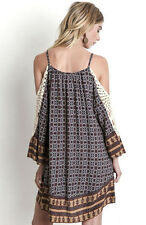 UMGEE Boho Print Slouchy Shoulder CROCHET SLEEVE Tunic Top Hippie Gypsy Dress S