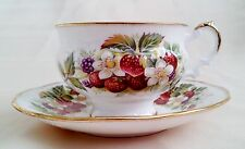 Elizabethan Tea Cup & Saucer~Strawberries, Red, White, Green, Yellow~Delicious!