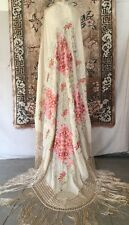 Fine Antique Hand Embroidered Silk Piano Shawl Pink Flowers Braided Fringe