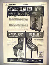 Big League Baseball Pinball Machine PRINT AD -1946 ~ Bally Draw Bell Arcade Game
