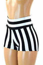 MEDIUM High Waist Black/White Stripe Referee Rave Booty Shorts Ready To Ship
