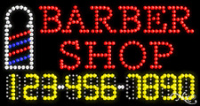 """NEW """"BARBER SHOP"""" 32x17 w/YOUR PHONE NUMBER SOLID/ANIMATED LED SIGN 25047"""