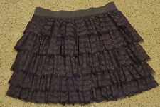 Womens SKIRT - J. CREW - Size 4 - Gray - Lace and Ruffles - Short -