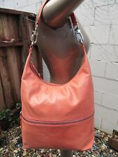 HOBO INTERNATIONAL GLAZED LEATHER JUDE HOBO BAG PURSE TOTE HANDBAG MELON ORANGE
