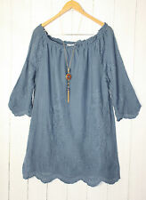 Diana Italy Tunic Top 38 40 42 Boho Hippie Style Embroidery BLUE NEW