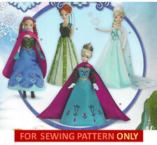 """RETIRED SEWING PATTERN~MAKE DOLL CLOTHES~FROZEN~ANNA~ELSA DRESS~FIT BARBIE~11.5"""""""
