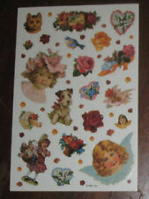 Victorian Children Cat Dog Flowers Angel Sticker Sheet Vintage