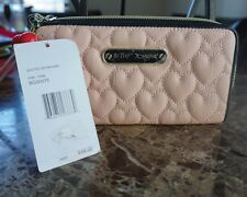 Betsey Johnson Quilted Puffed Hearts Zip Around Pink Wallet Wristlet BG30075