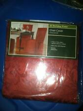 NIP RED FANCY DINING CHAIR COVER W/TIE BACKS