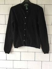 WOMEN'S 90'S BLACK OLD SCHOOL VINTAGE RETRO RALPH LAUREN WOOL CARDIGAN UK 8 #1