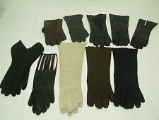 10 PRS VINTAGE LADIES FANCY GLOVES SZ 7 1/2 ~FRENCH KID LEATHER & CUTWORK FLORAL