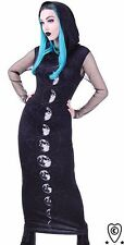 MOON PHASES Long, hooded dress, black, witchy