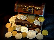 $ Lot of old Silver and Collectible U. S. Coins with Treasure Chest ~ GREAT Gift